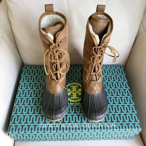 Tory Burch Tall Shearling Rain Snow Boots